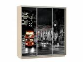 Шкаф-купе «Фото Трио ФФФ 180» ясень шимо светлый (Лондон)