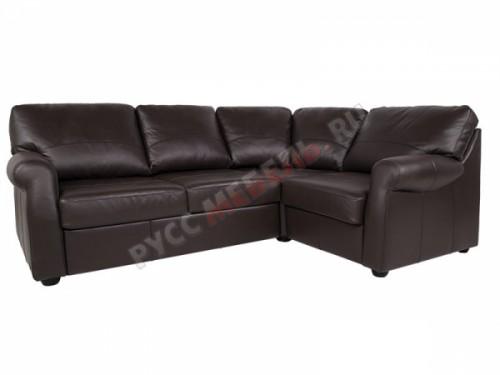 Кожаный угловой диван «Честерфилд» (кожа Мокка)