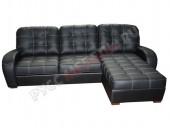 Кожаный угловой диван «Монреаль» с канапе (Madras Nero)