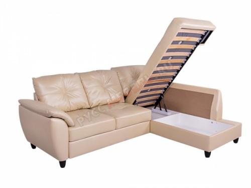 Кожаный угловой диван «Николь» (с канапе):