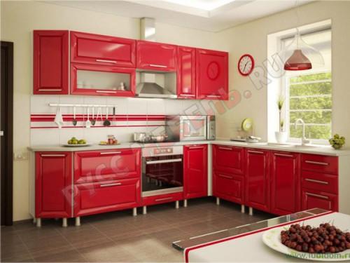 Кухня модульная «Анастасия Тип 3 красная»