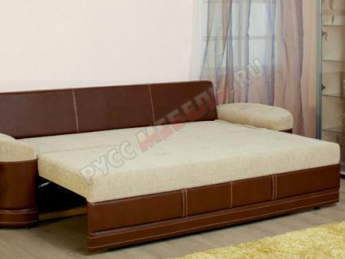 Сиденье дивана шагает вперед, а вторая половина спального места двигается сама синхронно с первой: