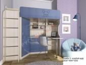 Кровать-чердак «Бемби-3 МДФ» (голубой)