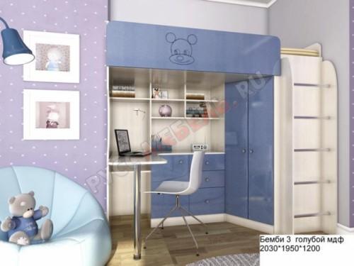 Кровать-чердак Бемби-3 МДФ: