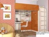 Кровать-чердак «Бемби-3 МДФ» (оранжевый)