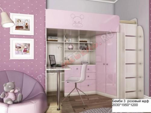 Кровать-чердак «Бемби-3 МДФ» (розовый)