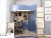 Кровать-чердак «Бемби-4 МДФ» (голубой)
