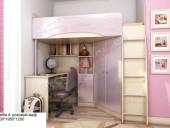 Кровать-чердак «Бемби-4 МДФ» (розовый)