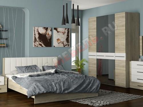 Кровать спальни с мягкой спинкой из экокожи: