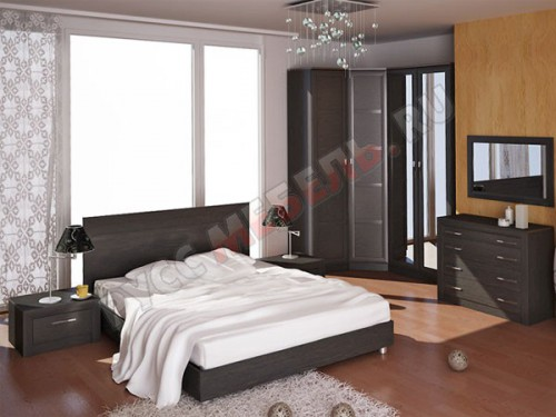 Цвет фасадов спальни: Венге Цаво