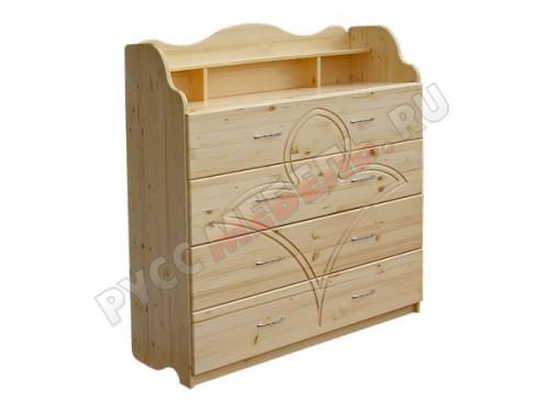 Кровать комплектуется комодом из натурального дерева: